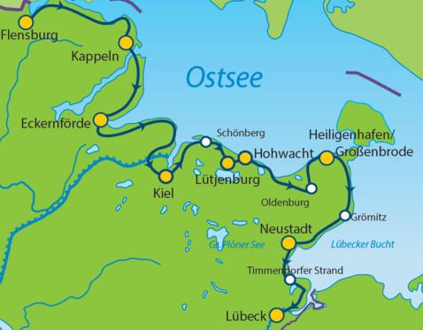 Karte Norddeutschland Ostseekuste.Ostsee Radweg