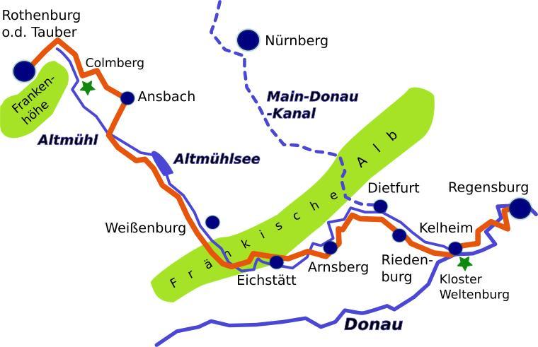 altmühlradweg karte