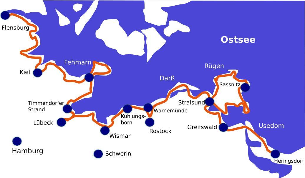 Ostseeradweg Lübeck Stralsund Karte.Ostseeradweg Lübeck Nach Stralsund