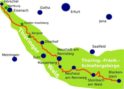 Rennsteig Cycle Trail map