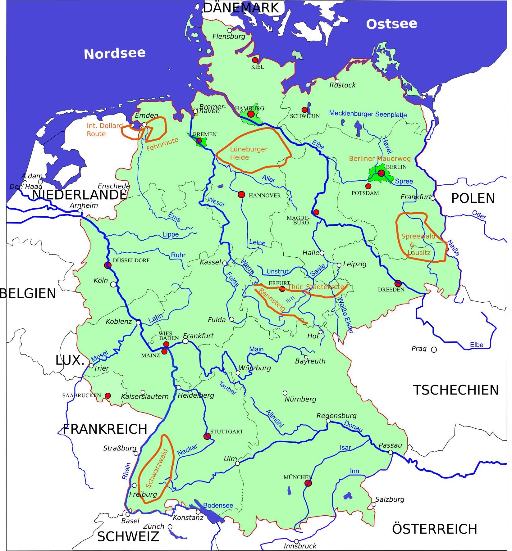 radwege deutschland karte Deutschlandkarte Radwege | Karte